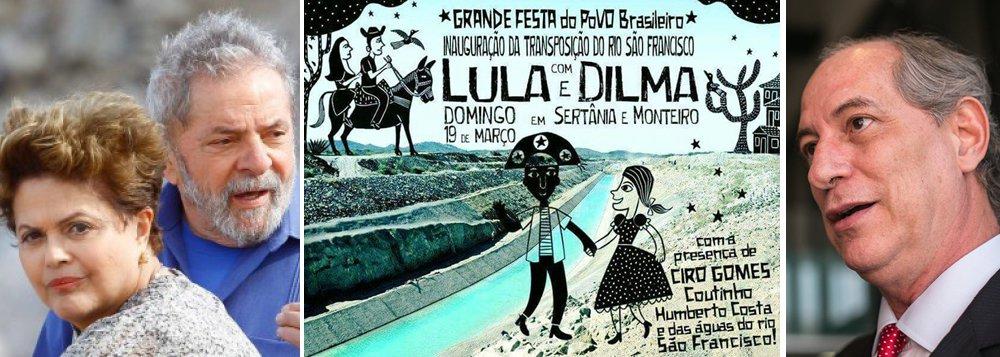 Ato político, às 16h deste domingo (19), terá presença dos ex-presidentes Lula e Dilma, além de Ciro Gomes e governadores da Paraíba, Ceará, Bahia e Piauí