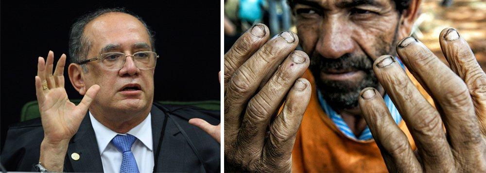 """Jornalista Fernando Brito classifica como """"cinismo"""" a declaração do ministro do STF Gilmar Mendes de que faztrabalho 'exaustivo', mas não é 'escravo'; """"Comparar seu 'trabalho exaustivo' ao dos pobres viventes enfurnados em galpões ou barracões onde se encontram os ainda muitos brasileiros – e também imigrantes, como os bolivianos – só merece um nome: cinismo"""", diz Brito; """"Gilmar Mendes certamente não é um escravo. Mas porta-se como se fosse senhor destes, que são os brasileiros tratados como se fossem. Ou, quem sabe, com a nova regulamentação do Ministério da Escravatura, digo, do Trabalho, agora são, mesmo"""""""