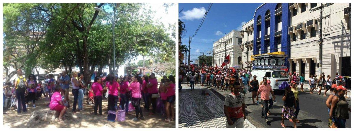 fizeram caminhadas pelas ruas do Centro de Maceió para reivindicar os direitos das mulheres; manifestação também tratou de temas como violência contra a mulher, reforma da previdência, congelamento de gastos públicos por vinte anos e o governo Michel Temer