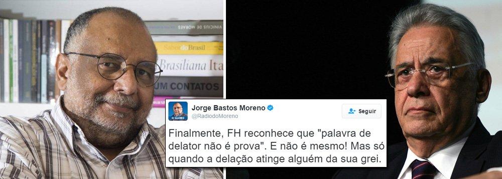 """Colunista do jornal O Globo Jorge Bastos Moreno criticou neste sábado, 4, o ex-presidente Fernando Henrique Cardoso (PSDB), que atacou a imprensa por divulgar o caixa dois de R$ 9 milhões pedido pelo senador Aécio Neves (PSDB) à Odebrecht para campanhas do PSDB em 2014; """"Finalmente, FH reconhece que 'palavra de delator não é prova'. E não é mesmo! Mas só quando a delação atinge alguém da sua grei"""", disse Moreno em sua página no Twitter; em defesa de Aécio, FHC disse que """"a desmoralização de pessoas a partir de 'verdades alternativas' é injusta e não serve ao país. Confunde tudo e todos"""""""