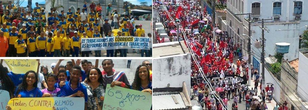 Milhares de trabalhadores ocuparam as ruas do Centro de Maceió para protestar contra a polêmica reforma da Previdência proposta pelo governo Michel Temer (PDB); servidores públicos estaduais e federais, rodoviários, trabalhadores dos Correios, e movimentos do campo e das mulheres participaram da manifestação