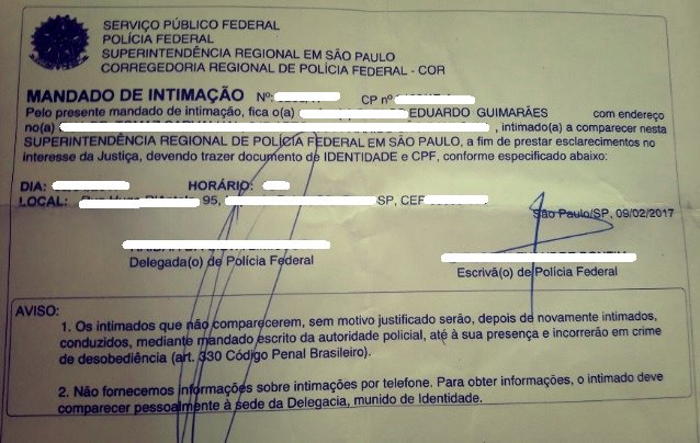 """No fim de fevereiro, cerca de uma semana antes do Carnaval, o blogueiro paulistano Eduardo Guimarães recebeu uma intimação da Polícia Federal em sua residência para que compareça perante um delegado para """"prestar esclarecimentos no interesse da Justiça"""""""