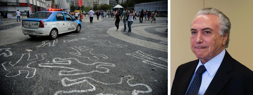 Com Michel Temer no poder, a quantidade de homicídios disparou em todo o País; só neste ano, o Brasil já atingiu a marca dos 28,2 mil assassinatos —homicídios dolosos, lesões corporais seguidas de morte e latrocínios (roubos seguidos de morte); são 155 assassinatos por dia, cerca de seis por hora nos Estados brasileiros, onde as características das mortes se repetem: ligada ao tráfico de drogas e tendo como vítimas jovens negros pobres da periferia executados com armas de fogo; número é 6,79% maior do que no mesmo período do ano passado e indica que o País pode retornar à casa dos 60 mil casos anuais; além das dificuldades de investimento dos Estados na segurança pública, a violência também é resultado da lentidão para implementação de um plano federal para o setor