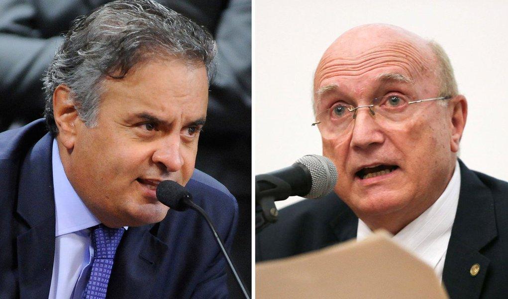 """Senador tucano foi gravado pelo empresário Joesley Batista, da JBS, se referindo ao ex-ministro da Justiça, Osmar Serraglio, como a """"um peba"""", """"um bosta de um caralho""""; para Aécio Neves (PSDB-MG), Michel Temer """"errou de novo"""" ao nomear Serraglio para a pasta; """"Porque aí mexia na PF"""", planejava, se referindo a outra nome para o cargo"""