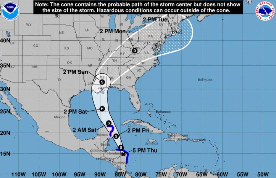 A tempestade tropical Nate se enfraqueceu nas últimas horas, mas continua produzindo fortes chuvas no sudeste dos Estados Unidos (EUA); em sua passagem pela América Central, Nate causou a morte de pelo menos 25 pessoas; este é o terceiro furacão a tocar os Estados Unidos na atual temporada