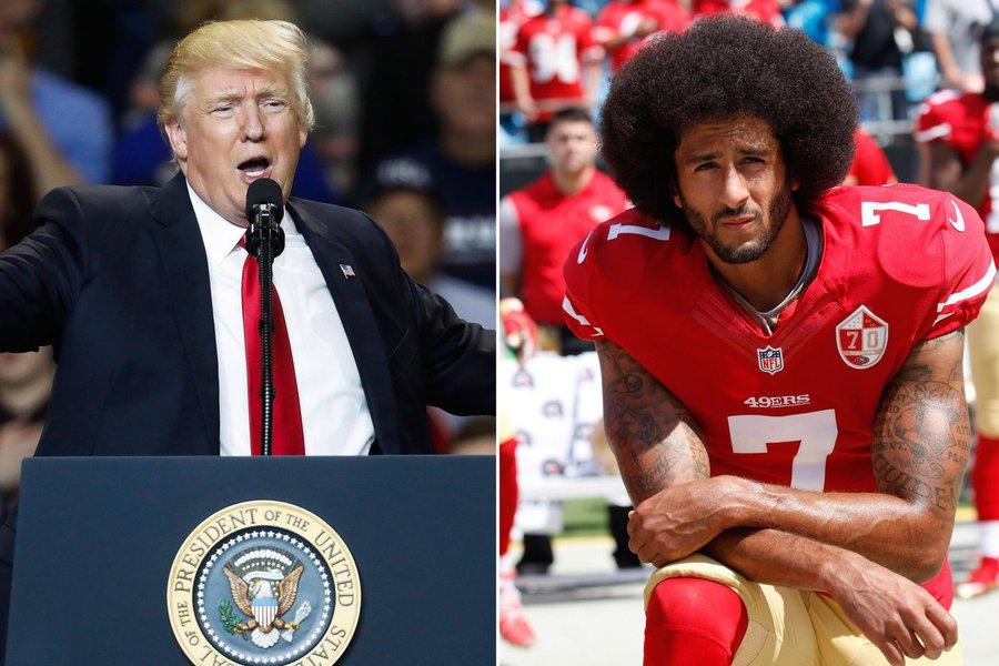 """A metralhadora de críticas de Donald Trump agora se voltou contra os jogadores da NFL, a liga de futebol americano dos EUA: o presidente dos EUA sugeriu que as franquias que protestem contra o racismo se recusando a ficar de pé durante a execução do hino dos EUA antes das partidas; """"Oo dono de franquia que fizer isso será a pessoa mais popular no nosso país"""", disse Trump; o comissário da NFL, Roger Goodell, respondeu Trump duramente: """"Comentários segregadores como esses demonstram uma infeliz falta de respeito com a liga e incapacidade de entender a força de nossos clubes e atletas nas nossas comunidades"""", declarou Goodell"""
