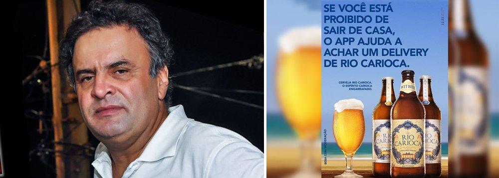 """Enquanto senadores se articulam para derrubar a decisão do Supremo Tribunal Federal que afastou Aécio Neves (PSDB-MG) de seu mandato e o proibiu de sair de casa à noite, alguns fazem piada; é o caso da marca de cervejas Rio Carioca; em anúncio no Facebook, a empresa ironizou o recolhimento noturno imposto ao tucano; """"Se você está proibido de sair de casa, o app ajuda a achar um delivery de Rio Carioca""""; a imagem viralizou nas redes"""