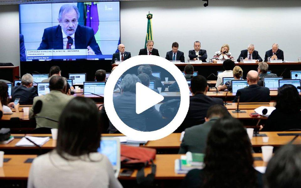 Na última audiência pública da comissão especial que discute a legislação trabalhista, nesta quinta-feira (5), o diretor da Organização Internacional do Trabalho (OIT) no Brasil, Peter Poschen, disse que qualquer reforma não pode se basear em más condições de trabalho e na exploração da mão de obra, mas deve seguir normas internacionais e promover uma concorrência leal;relator, deputado Rogério Marinho (PSDB-RN), pretende entregar seu parecer em uma semana. Isso provocou protestos por parte da oposição, já que, segundo Wadih Damous (PT-RJ), a apresentação, conforme acordo, deveria ocorrer no início de maio