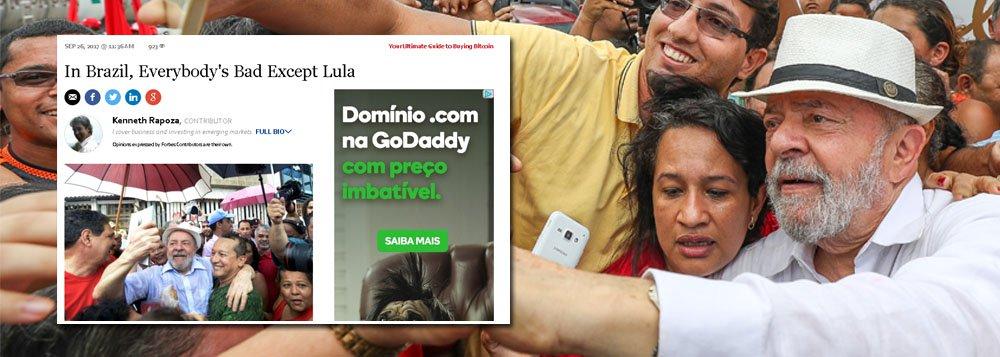 """A revista americana Forbes, uma das mais importantes publicações de economia e negócios no mundo, mostra que já vê Luiz Inácio Lula da Silva como futuro presidente do Brasil; em um artigo na revista, a classe política do País é bastante criticada, enquanto Lula é exaltado; sob o título """"No Brasil todos são ruins, menos Lula"""", o texto enumera os progressos obtidos durante os dois mandatos do petista e como seus oponentes não conseguem atingir sua popularidade; a Forbes destaca ainda a provável parcialidade do juiz Sérgio Moro em relação a Lula"""