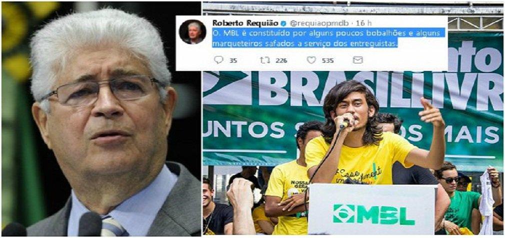 """O senador Roberto Requião (PMDB-PR) classificou de """"bobalhões"""" os integrantes do Movimento Brasil Livre (MBL); """"O MBL é constituído por alguns poucos bobalhões e alguns marqueteiros safados a serviço dos entreguistas"""", resumiu o parlamentar; Requião reagiu a ataque dos """"meninos bobos"""", do MBL, que o chamaram de """"bolivariano"""" e que o mesmo [Requião] tinha """"perdido o controle"""" depois do anúncio da venda da Eletrobras"""