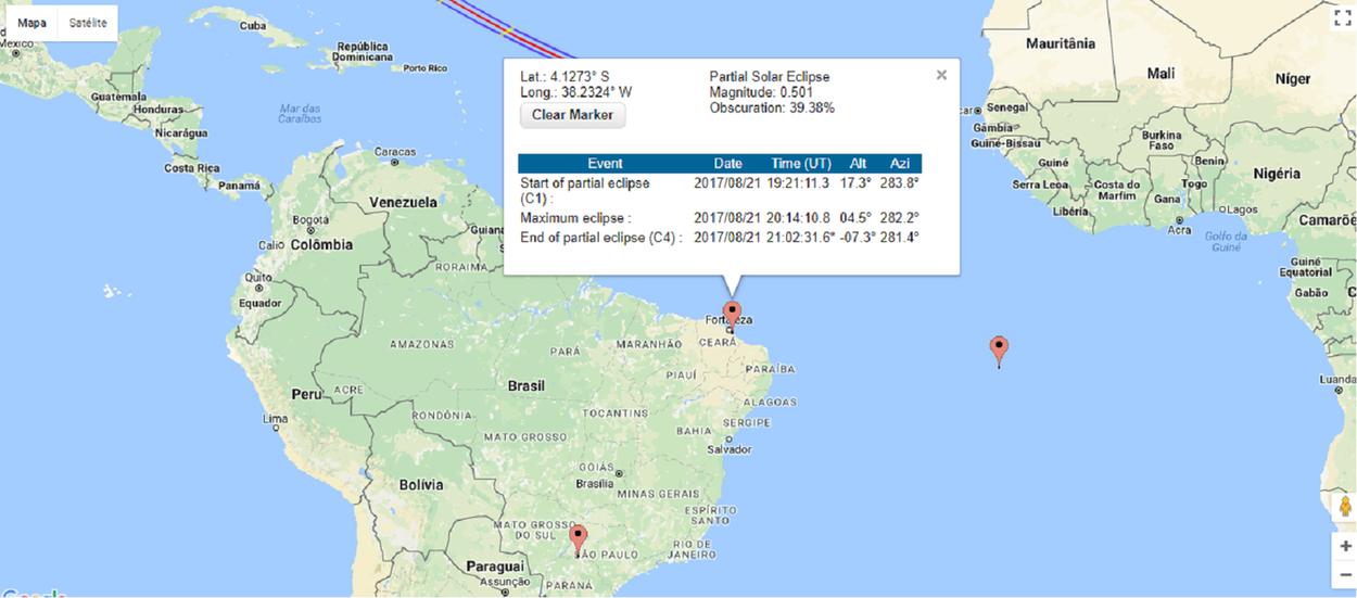 """Está previsto para esta segunda-feira (21) um eclipse solar total, que ocorre quando as órbitas do sol e da lua se cruzam e o satélite passa entre o sol e a Terra. Quando a lua cobre o sol, bloqueia os raios solares e faz uma sombra na Terra.No Brasil, os moradores das regiões Norte e Nordeste poderão avistar o fenômeno entre 12h46 e 18h04, horário de Brasília. Em Fortaleza, o fenômeno poderá ser visto ao entardecer. O Colégio Militar do Corpo de Bombeiros estará realizando um""""observaço"""" gratuito e aberto ao público, a partir das 16h. A Lua começa a cobrir o disco solar por volta das 16h20, atingindo a máxima ocultação cerca de uma hora depois. Pouco antes das 17h40, o Sol deverá se pôr ainda parcialmente eclipsado"""