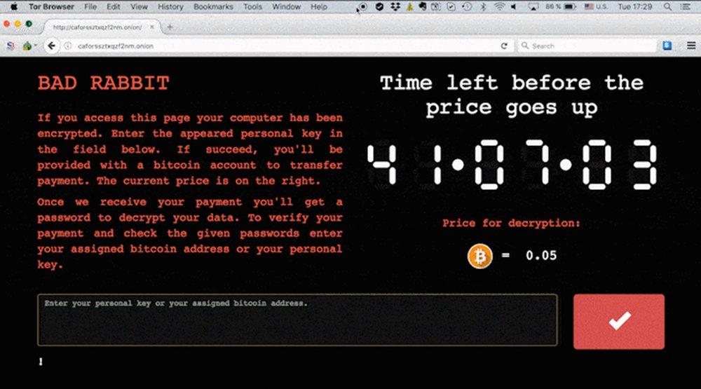 Ciberataques do malware chamado BadRabbit atingiram a Ucrânia e a Rússia nesta terça-feira (24) causando atrasos no aeroporto ucraniano de Odessa e afetando vários meios de comunicação na Rússia, incluindo a agência de notícias Interfax; ataque parece ser um dos maiores desde o ocorrido com o NotPetya, em junho, que atingiu primeiramente a Ucrânia e se espalhou pelo mundo