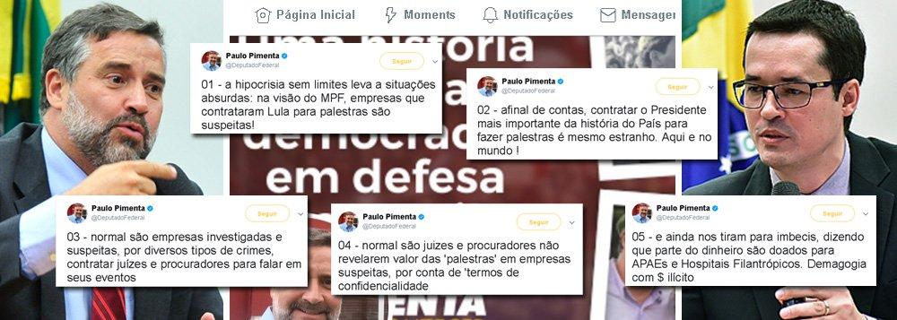 """Deputado federal Paulo Pimenta (PT-RS) usou sua conta no Twitter para questionar as palestras feitas por juízes e membros do Ministério Público a título de """"combater a corrupção""""; segundo o parlamentar """"na visão do MPF [Ministério Público Federal], empresas que contrataram Lula para palestras são suspeitas!"""", mas """"normal são empresas investigadas e suspeitas, por diversos tipos de crimes, contratar juízes e procuradores para falar em seus eventos"""", escreveu"""