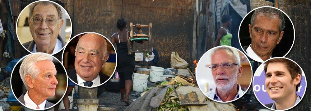 Uma pesquisa divulgada nesta segunda-feira pela Oxfam deu a dimensão pornográfica da concentração de renda no Brasil; seis bilionários,Jorge Paulo Lemann (AB Inbev), Joseph Safra (Banco Safra), Marcel Hermmann Telles (AB Inbev), Carlos Alberto Sicupira (AB Inbev), Eduardo Saverin (Facebook) e Ermirio Pereira de Moraes (Grupo Votorantim), concentram a mesma riqueza que os 100 milhões mais pobres do país – quase 50% da população; além disso, um brasileiro que vive do salário mínimo teria que trabalhar 19 anos para ganhar o que um super-rico recebe por mês no Brasil; aqui, os 5% mais ricos têm a mesma riqueza que os 95% restantes