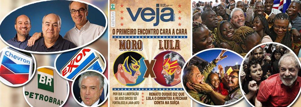 """Em sua capa deste fim de semana, a revista Veja trata o encontro entre o ex-presidente Luiz Inácio Lula da Silva e o juiz Sergio Moro, como uma espécie de """"luta do século"""" entre Muhammad Ali e George Foreman; a realidade, porém, é outra e os adversários de Lula são muito maiores; o ex-presidente enfrenta, de uma só vez, a Globo, maior monopólio de comunicação do planeta, o golpe de Michel Temer, rejeitado por 92% dos brasileiros, e os interesses das multinacionais do petróleo, que financiaram o golpe parlamentar de 2016 para tomar o pré-sal da Petrobras; nesse embate, Moro é uma peça importante, mas não é quem comanda o show; Lula, por sua vez, representa 30% do povo brasileiro, segundo o último Datafolha, e deve levar 30 mil pessoas a Curitiba"""