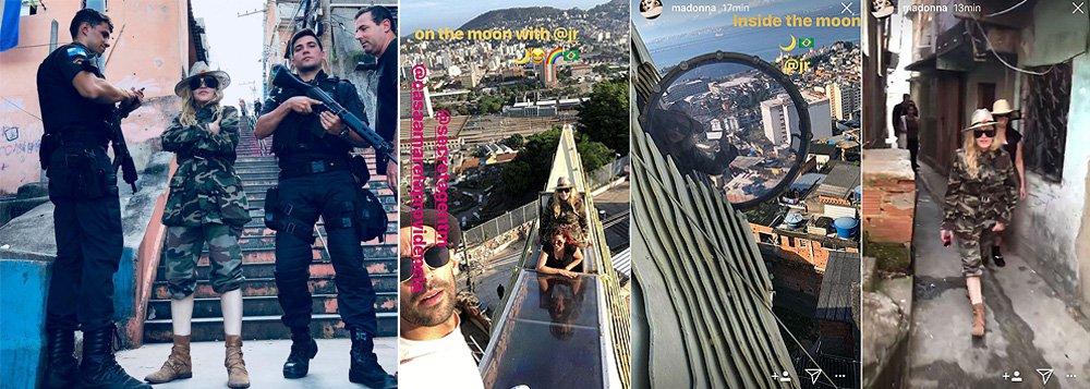 """""""Peituda, Madonna posou no morro da Previdência ao lado de uma suposta escolta de PMs. (Nunca se sabe, quando se trata de Madonna se é vida real ou clip)"""", escreve Alex Solnik, colunista do 247; ele analisa o contexto da visita da pop star a um morro no Rio de Janeiro, cujos registros de violência já ganham contornos de guerra civil;""""Ela não pediu licença a ninguém, foi lá e pronto. Subir ao morro, hoje, não é turismo. É roleta russa. É o que contam as notícias diárias. O morro carioca, berço do samba, romântico nos anos 50, como o conhecemos nas obras-primas de Nelson Pereira dos Santos virou território de bala perdida"""", diz Solnik"""