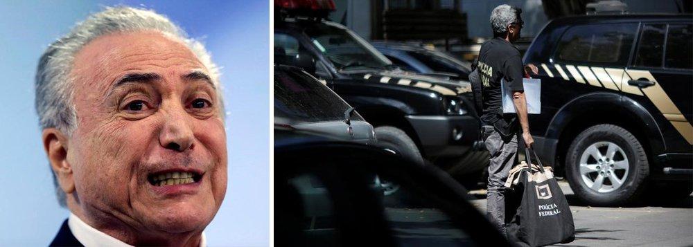 """Relatório da Polícia Federal, enviado na segunda-feira ao Supremo Tribunal Federal, afirma que há evidências """"com vigor"""" da prática de corrupção passiva pelo presidente da República, Michel Temer, no inquérito em que é investigado depois da delação premiada dos executivos da J&F; delegado aponta que, nas negociações entre Ricardo Saud e Rocha Loures para que a JBS conseguisse resolver uma questão contra a Petrobras no Cade, o executivo cita Temer diversas vezes como estando ciente das negociações; """"Em meio a tais cogitações, Ricardo Saud fez menções a 'presidente', sem nunca ter sido corrigido por Rodrigo da Rocha Loures, dando a entender, claramente, por força do contexto, que Michel Temer estava por trás daquelas tratativas""""; leia a íntegra"""