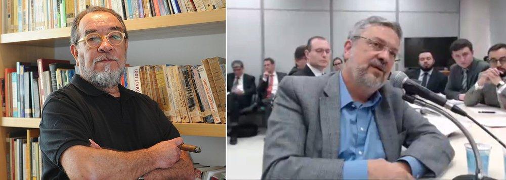 """Jornalista Fernando Morais lamenta a postura do ex-ministro Antônio Palocci em sua delação ao juiz Sérgio Moro, concentrada nos ex-presidentes Lula e Dilma e no PT;""""Curiosamente, ao contrário do sentimento que me despertavam os desbundados dos anos 70, não fiquei com nojo do Palocci. Fiquei com pena, muita pena"""", diz Morais"""