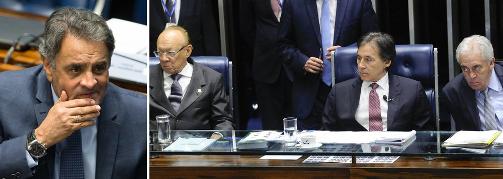 Por 50 votos favoráveis e 21 contrários, o plenário do Senado decidiu nesta noite adiar a votação sobre o afastamento do senador Aécio Neves (PSDB-MG); plenário aprovou, após três horas de discussão, um requerimento apresentado por Antônio Carlos Valadares (PSB-SE); Aécio foi afastado do mandato parlamentar na semana passada, por determinação da Primeira Turma do Supremo Tribunal Federal (STF) e a pedido da Procuradoria Geral da República (PGR)