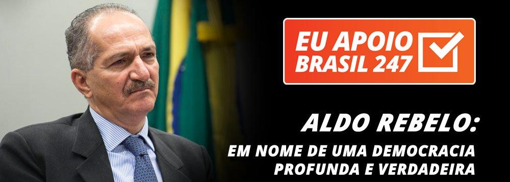 """O ex-ministro Aldo Rebelo, que foi ministro dos governos Lula e Dilma, e hoje é um dos principais nomes do PSB, também apoia a campanha de assinaturas solidárias do 247. """"Faço isso em apoio a uma imprensa independente e que ajude o Brasil a construir uma democracia profunda e verdadeira"""", dizele"""