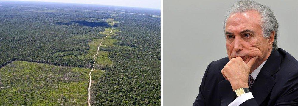 """A decisão de Michel Temer de extinguir a Reserva Mineral de Cobre e seus Associados, que na prática significa vender a Amazônia brasileira aos interesses das mineradoras internacionais, já havia recebido um parecer contrário do Ministério do Meio Ambiente, que alertou sobre as caráter lesa-pátria da extinção da área: oparecer do Meio Ambiente afirma que é preciso manter a área da Renca proibida para a mineração """"frente ao cenário de aumento do desmatamento na região como um todo e à possibilidade de abrir uma nova frente de conversão em áreas que ainda não foram afetadas de forma significativa"""""""