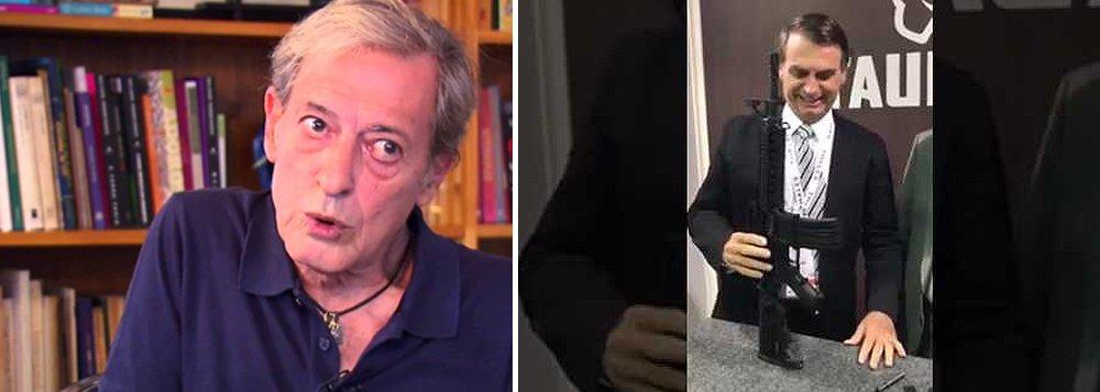 """O colunista José Simão ironizou as recentes declarações do agora presidenciável Jair Bolsonaro, que defendeu a liberação da compra de armas no Brasil: """"Minha Pistola, Minha Vida! Bolsa Tresoitão!"""""""