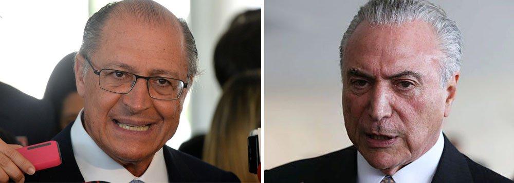 """O governador de São Paulo, Geraldo Alckmin, do PSDB, pode estar rifando de vez suas chances de se eleger presidente em 2018, ao manter o apoio a Michel Temer, já denunciado por corrupção, obstrução judicial e também como chefe de quadrilha; """"O PSDB vai primeiro analisar tudo isso para depois se posicionar"""", disse ele"""