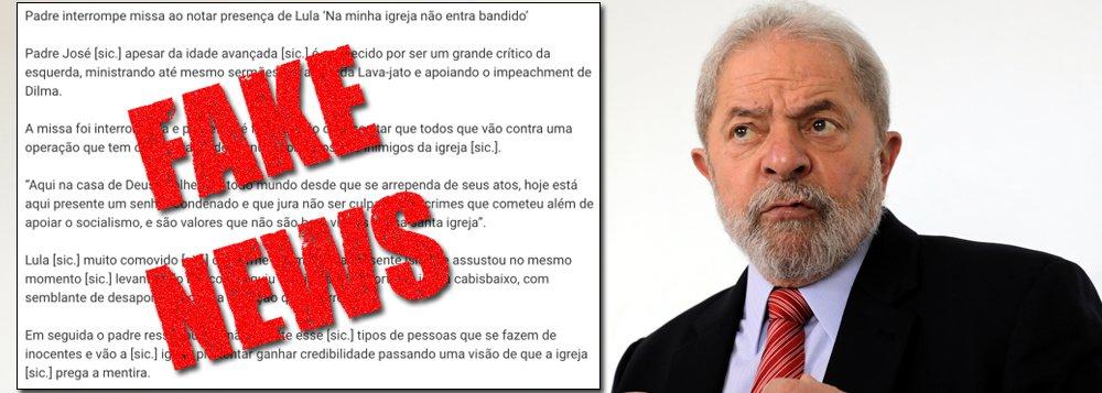 """O ex-presidente Luiz Inácio Lula da Silva foi novamente vítima da divulgação de fake news nas redes sociais; cenário da mais recente lorota do gênero envolvendo Lula é uma igreja e o responsável por desancá-lo publicamente teria sido um padre; """"Padre interrompe missa ao notar presença de Lula 'Na minha igreja não entra bandido'"""", é o título do boato. O responsável pela notícia falsa, compartilhada cerca de 65.000 vezes em redes sociais e no WhatsApp, é o site Sociedade Oculta, notório pelas mentiras que publica"""