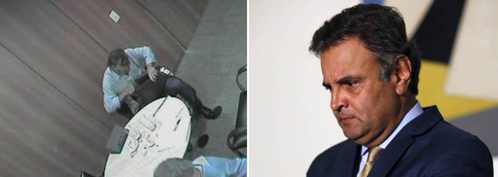 Imagens mostram Frederico Pacheco de Medeiros, primo do senador Aécio Neves (PSDB-MG) que foi preso no último dia 18 na Operação Patmos, recebendo uma mala com R$ 500 mil de Ricardo Saud, executivo da J&F; no vídeo realizado na chamada ação controlada da PF, Fred, como é conhecido, conta o dinheiro numa mesa; para a PF, Aécio era o destinatário do dinheiro