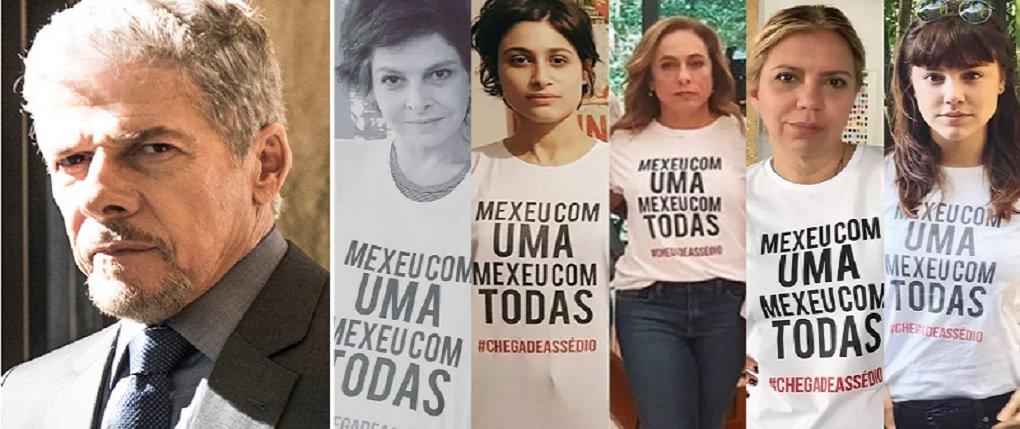 """A Globo suspendeu o ator José Mayer de produções dos Estúdios Globo por tempo indeterminado; decisão foi tomada na segunda (3) e motivada pela denúncia de assédio sexual, envolvendo o ator e a figurinista Susllem Tonani; nesta terça (4), um grupo de funcionários, colaboradores e executivos da TV Globo se manifestou contra o assédio sexual, usando camisetas com as inscrições """"Mexeu com uma mexeu com todas"""", acompanhada da hashtag #chegadeassédio"""