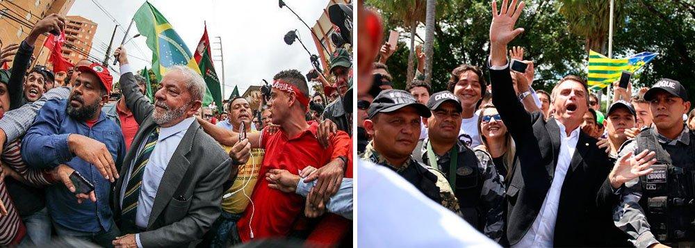 Se as eleições presidenciais fossem antecipadas, como desejam 87% dos brasileiros, a disputa se daria entre o ex-presidente Luiz Inácio Lula da Silva e o deputado Jair Bolsonaro (PSC-RJ), no segundo turno; é o que aponta a nova pesquisa realizada pelo site Poder 360, que aponta crescimento de Lula, de 25% para 27%, e Bolsonaro mantido na segunda posição, com 14%; os tucanos não passariam para o segundo turno nem com Geraldo Alckmin, com 7%, nem com João Doria, que teria 11%; a pesquisa aponta ainda que 90% dos brasileiros desejam mudança – o que comprova que o apoio do PSDB ao golpe de Michel Temer, aprovado por apenas 2% dos brasileiros, foi um tiro no pé