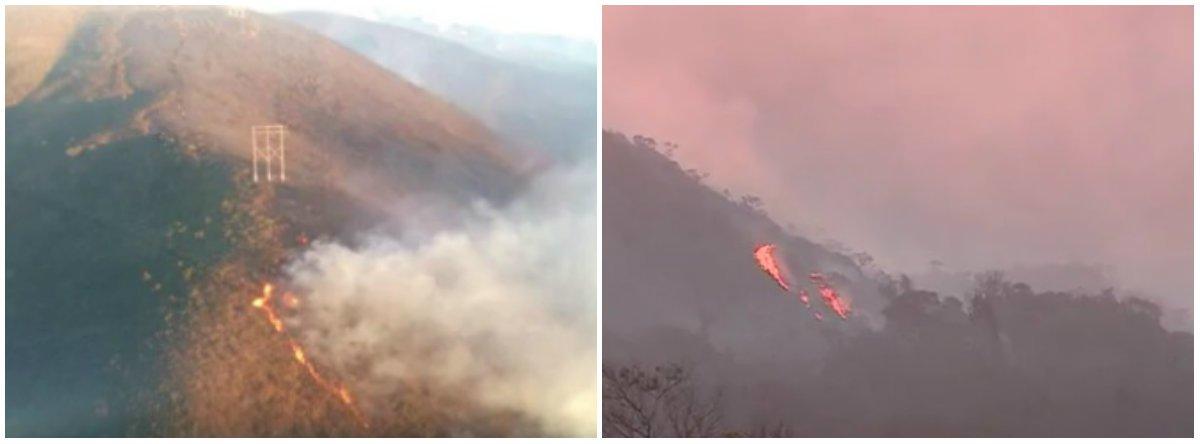 O Corpo de Bombeiros recomeçou o combate ao incêndio na Serra do Rola Moça, na Região Metropolitana de Belo Horizonte; o fogo atinge uma área perto do manancial Catarina, segundo informações da corporação; mais de 70 militares e brigadistas estavam no local durante a tarde