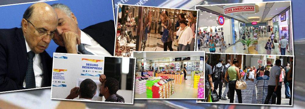 Levantamento aponta que 50% dos consumidores brasileiros atrasaram as parcelas de empréstimos ou financiamentos no mês de agosto; desse total, 34% tiveram atrasos ao longo do contrato e 16% estavam com parcelas pendentes no mês, segundo dados do SPC Brasil e da CNDL; nas lojas, considerando apenas quem tentou fazer compra parcelada, 63% tiveram o crédito negado, sendo o motivo principal a inadimplência (24%), seguida por renda insuficiente (11%); política econômica do governo Michel temer já deixou mais de 13 milhões de desempregados, além de quebrar setores da indústria e do varejo