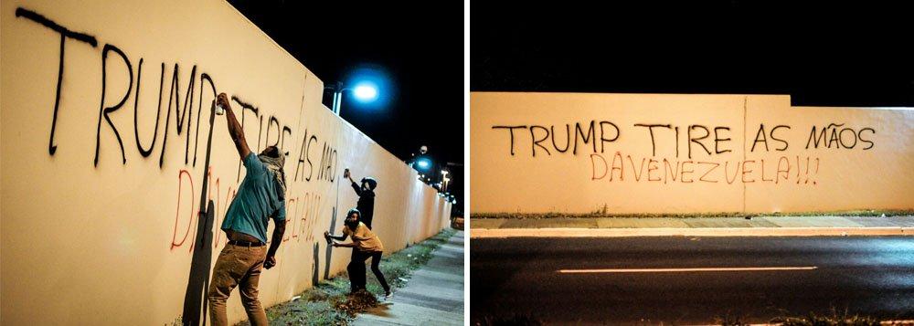 """Os muros da embaixada dos Estados Unidos em Brasília foram pixados na noite desta segunda-feira 21 com mensagens críticas ao presidente Donald Trump e mensagens de apoio à Venezuela; """"Trump, tire as mãos da Venezuela"""", diz a frase gravada na parede; em declaração recente, Trump ameaçou a Venezuela com uma intervenção militar"""