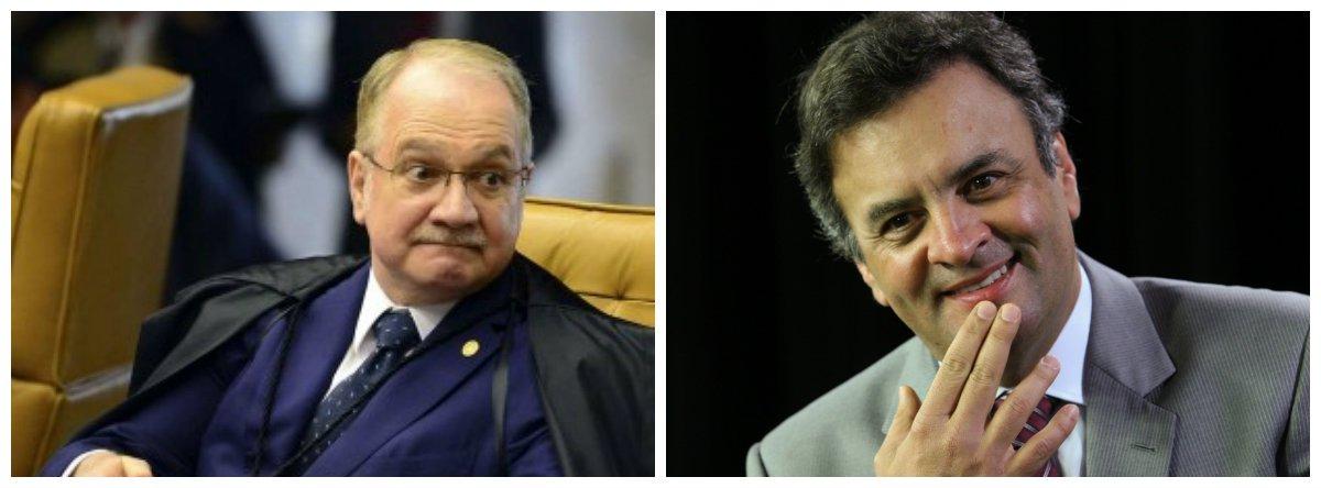 Ministro do Supremo Tribunal Federal (STF) Edson Fachin e senador Aécio Neves (PSDB-MG)