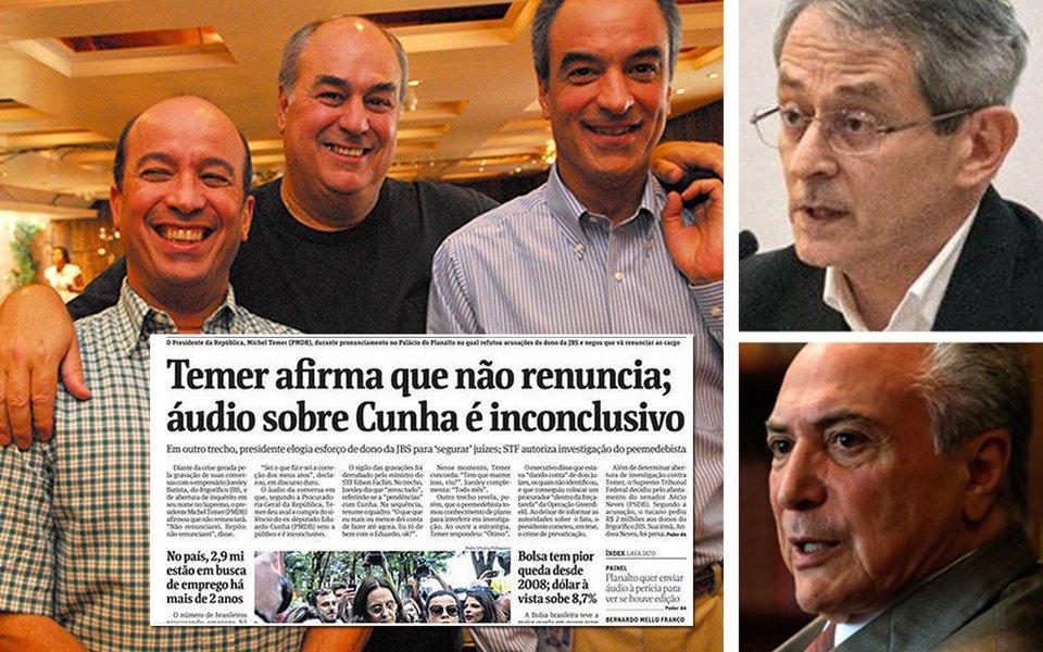 A Globo desmontou a farsa de uma perícia da Folha acerca dos áudios que comprometem o ilegítimo Michel Temer. A briga entre ambos expõe as vísceras do golpe que apoiam