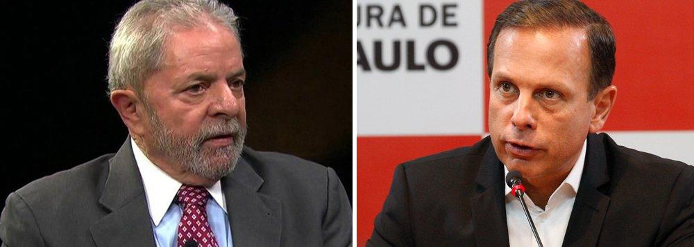 """Em sua obsessão de atacar Lula e desqualificar o PT, o prefeito de São Paulo, João Doria Júnior (PSDB), volta a ofender o ex-presidente em sua página no Facebook; """"Diferente de você, eu não fujo das minhas obrigações e não uso nome de ninguém para me esquivar da justiça. Sua hora está chegando. #LulaCondenado"""", disse, demonstrando total desequilíbrio e despreparo para exercer um cargo de tamanha importância"""