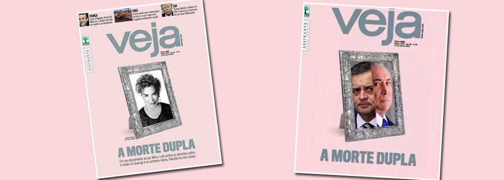 """Depois de afirmar que Lula culpou Marisa pela compra do triplex, apontando a """"morte dupla"""" da ex-primeira dama, na capa mais canalha de sua história, a revista da editora Abril estampará a morte política de Temer e Aécio em sua próxima edição?"""