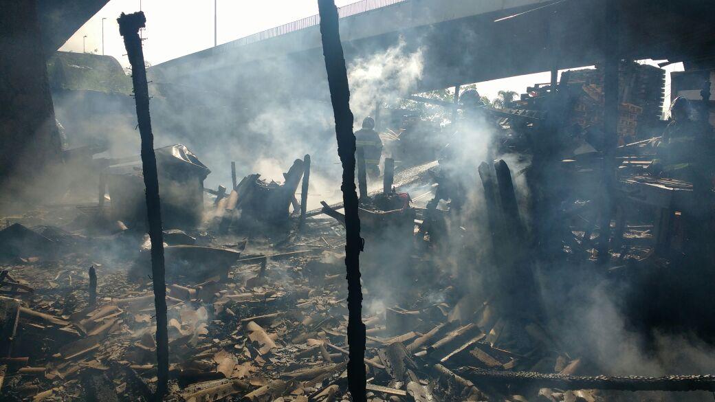 Pelo menos 15 barracos foram atingidos por incêndio em comunidade no bairro do Jaguaré (zona oeste de São Paulo); cerca de 35 bombeiros trabalharam no combate às chamas, com 12 viaturas, e conseguiram controlar o fogo, por volta das 9h deste domingo (08)