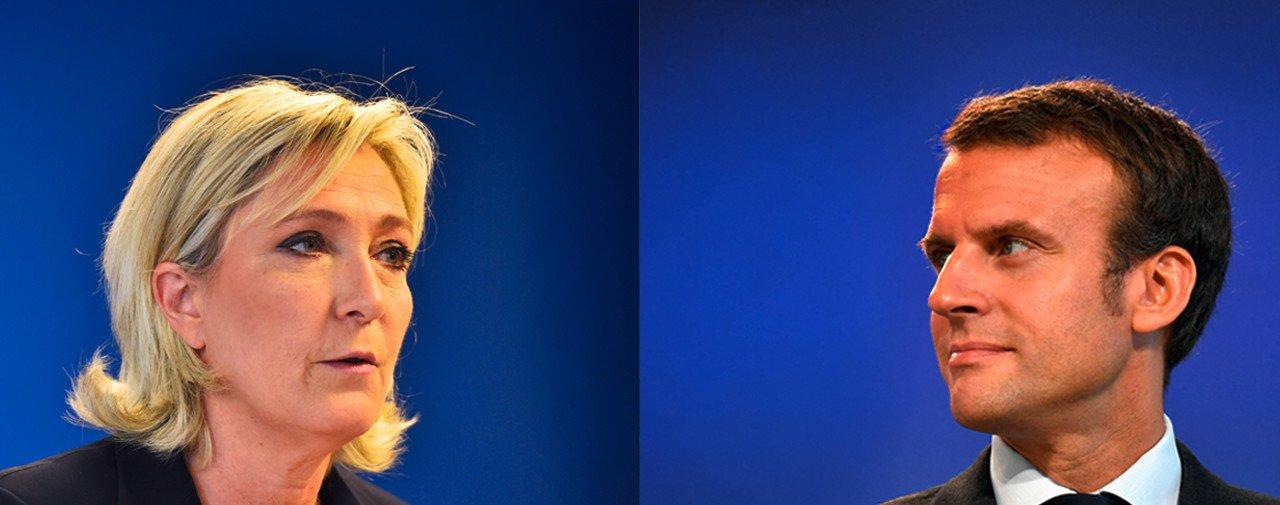 Sondagem realizada pela Ipsos-Steria para a France Télévisions, a Radio France e o Le Monde, indicam o ex-ministro da Economia francês, Emmanuel Macron, o candidato do centro, com 23,7% dos votos,e a líder da Frente Nacional, Marine Le Pen, o nome da ultradireita, com 21,7%;os dois se enfrentarão no segundo turno das eleições, em 7 de maio; em terceiro lugar ficou François Fillon, com 19,5%;quase 70% dos eleitores franceses comparecem às urnas neste domingo 23, numa eleição que teve forte esquema de segurança, três dias após acontecer um ataque mirando policiais no centro de Paris