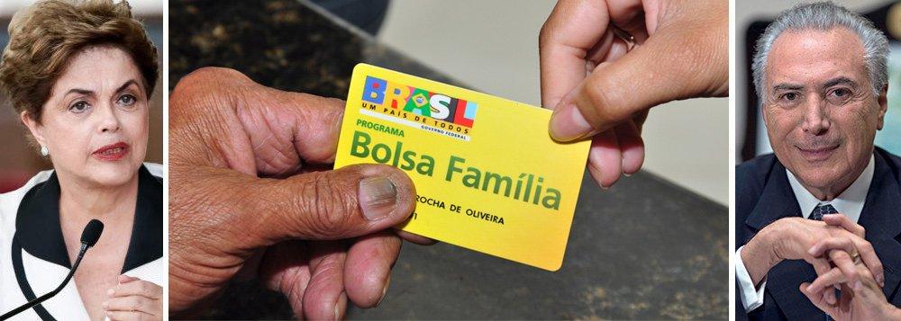 """""""É estarrecedor que depois de liberar dinheiro a deputados para arquivar uma denúncia contra si e de gastar R$ 14 bilhões para atender a interesses escusos, além de criar o bolsa-ruralista, o governo golpista de Michel Temer decida reduzir os programas sociais"""", diz a presidente deposta pelo golpe, Dilma Rousseff, em nota sobre a redução em 1,2 milhão de famílias no número de beneficiados pelo programa, desde que ela deixou o poder; """"A rede de proteção social do Bolsa Família está sendo furada por esse governo ilegítimo e iníquo. É muito grave"""", diz Dilma"""