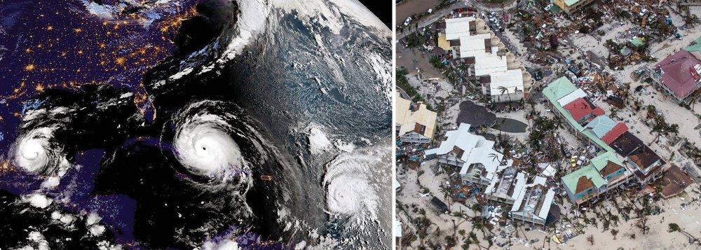 O furacão Irma chegou na noite desta desta sexta-feira (8) à costa norte de Cuba depois de deixar um rastro de destruição em sua passagem pelo Caribe; o gigantesco furacão atingiu o arquipélago de Camagüey, a 190 km de Caibarién, às 3h da madrugada; a cidade cubana fica a apenas 485 km de Miami; na Flórida, onde meteorologistas alertam que a tempestade pode elevar em até oito metros os níveis normais do mar, mais de meio milhão de pessoas serão evacuadas provocando um êxodo em massa que é dificultado por engarrafamentos e falta de combustível