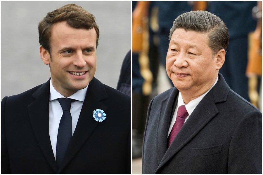 """O presidente chinês, Xi Jinping, disse ao seu colega francês, Emmanuel Macron, nesta sexta-feira que espera que a França possa desempenhar um """"papel construtivo"""" na questão nuclear na Península Coreana, disse a emissora estatal de TV da China; Xi fez o comentário em uma conversa por telefone com Macron"""