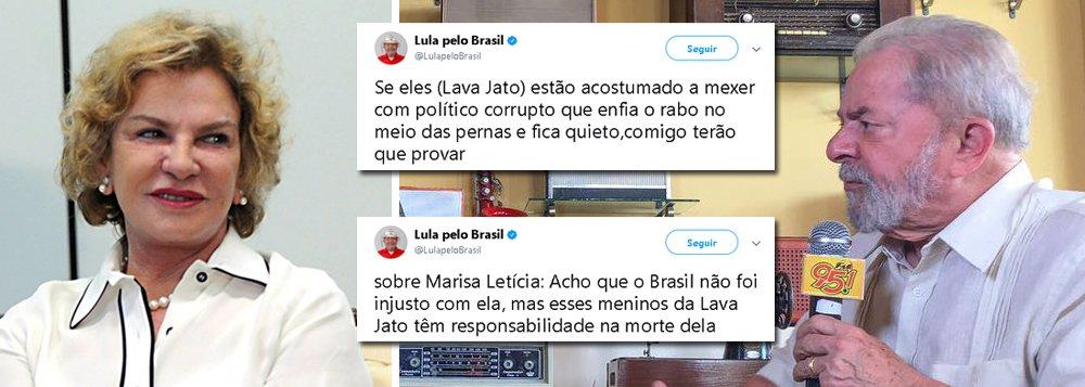 """Durante entrevista a uma rádio de Currais Novos (RN), o ex-presidente Lula acusou os procuradores da operação Lava Jato de culpa nos episódios que levaram à morte da ex-primeira-dama Marisa Letícia; """"Acho que o Brasil não foi injusto com ela, mas esses meninos da Lava Jato têm responsabilidade na morte dela"""", disse Lula; """"Se eles (Lava Jato) estão acostumado a mexer com político corrupto que enfia o rabo no meio das pernas e fica quieto,comigo terão que provar"""", acrescentou; a Lava Jato vazou conversas de Marisa Letícia com os filhos, o que estimulou a hostilidade contra a ex-primeira-dama"""