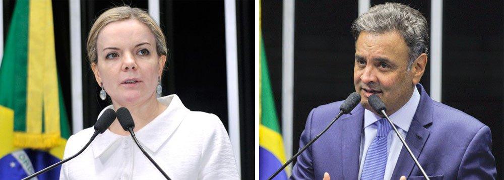 """""""O Código de Ética do Senado Federal dá poderes para a Casa tratar do assunto e afastar o Senador Aécio Neves. Por isso, nós vamos acionar os mecanismos institucionais adequados para que isso seja feito"""", disse a senadora Gleisi Hoffmann (PT-PR), presidente nacional do partido; ontem, numa polêmica nota, o PT considerou """"esdrúxula"""" a decisão do Supremo Tribunal Federal de afastar Aécio de seu mandato e de determinar seu recolhimento noturno"""