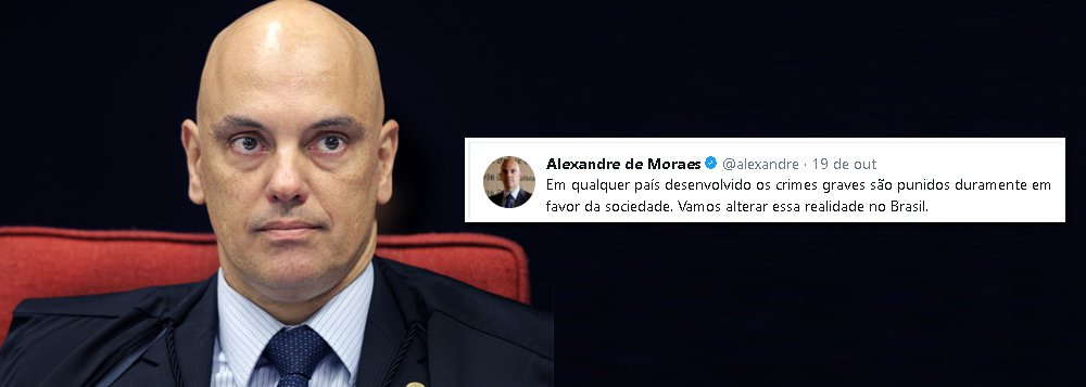 """""""Qualquer juiz que vota pensando em popularidade é um perigo. Muitas vezes as decisões são antipáticas. E essa é a função do STF. Por isso é o único Poder não eleito e vitalício. Não tem que fazer populismo. Se quer fazer, não seja juiz, procurador, promotor: seja político"""", disse o ministro Alexandre de Moraes, do Supremo Tribunal Federal; ele, no entanto, defendeu sua atuação pública no Twitter"""