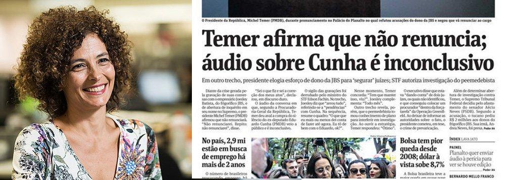 """Jornalista Paula Cesarino Costa, ombudsman da Folha, destacou neste domingo, 21, que se no primeiro momento o jornal """"abraçou apressadamente a versão do furo que tomara"""", foi """"enfático demais"""" a decretar a inconclusividade da gravação; """"Mesmo com a dúvida sobre esse trecho, o conteúdo do áudio representava uma conversa grave e comprometedora do chefe do Executivo. Vários leitores reagiram com indignação à mudança de posição da Folha"""", diz Costa"""