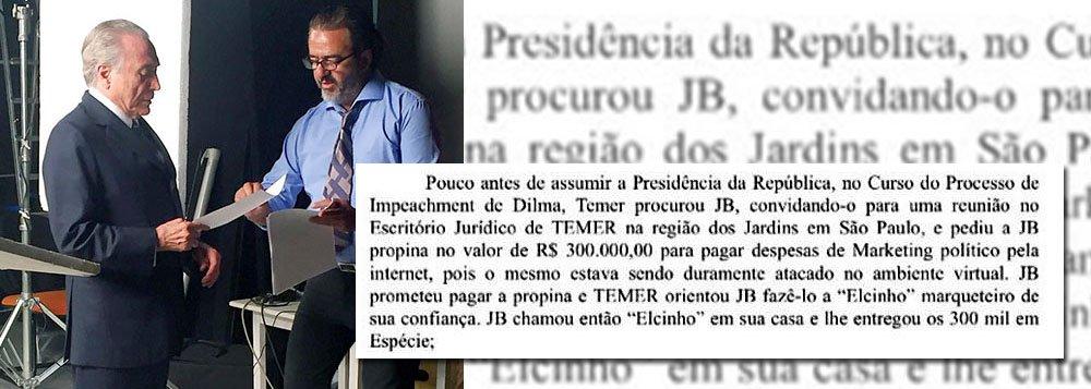 Um dos trechos do depoimento de Joesley Batista revela que Michel Temer pediu e recebeu propina durante o período que antecedeu o golpe contra a presidente Dilma Rousseff; segundo Joesley, Temer o convidou para uma reunião em seu escritório político, já no curso do processo de impeachment, e lhe pediu ajuda financeira para despesas de marketing político; o valor acertado foi de R$ 300 mil e, segundo Joesley, foi entregue ao marqueteiro Elsinho Mouco, que há muitos anos atua para Temer e para o PMDB; segundo o dono da JBS, a quantia foi entregue em espécie em sua casa; procurado, o marqueteiro de Temer ainda não pronunciou