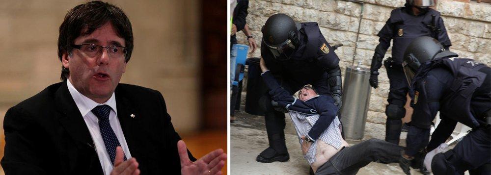 """O líder da Catalunha, Carles Puigdemont, disse nesta segunda-feira que não busca uma separação """"traumática"""" da Espanha, mas um novo entendimento, um dia depois de centenas de pessoas terem ficado feridas devido à ação da polícia para tentar impedir à força a realização de um referendo de independência; Puigdemont disse que a votação, que atraiu milhões de eleitores desafiadores apesar de o Tribunal Constitucional da Espanha tê-la declarado ilegal, foi válida e vinculante e que """"temos que aplicá-la"""""""
