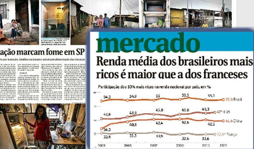"""Estudo feito pelo economista francês Thomas Piketty mostra que os ricaços brasileiros têm ganhos superiores aos franceses que estão no mesmo patamar – o 1% da população mais abonada daqui recebe mais que o 1% que, por lá, garante vaga no topo da pirâmide social; """"a renda média do 1% mais rico no Brasil ronda US$ 541 mil ao ano, na França, esse 1% ganha de US$ 450 mil a US$ 500 mil"""", segundo o estudo do World Wealth and Income Database, escreve o jornalista Fernando Brito, do blog Tijolaço"""